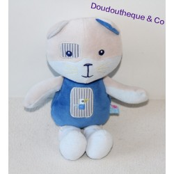 Doudou chat SUCRE D'ORGE cocard à l'oeil oiseau brodé gris et bleu 25 cm