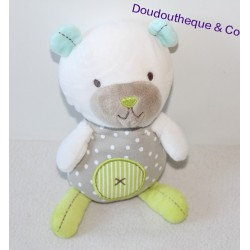 Doudou ours POMMETTE vert gris pois blanc croix 22 cm
