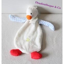 Doudou plat canard HAPPY HORSE Duck Dali Tuttle blanc bleu rouge
