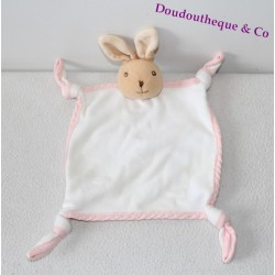 Doudou plat lapin KALOO blanc bords rose 4 noeuds 30 cm