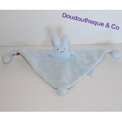 Doudou Lapin TROUSSELIER blanc marron grelot 19 cm